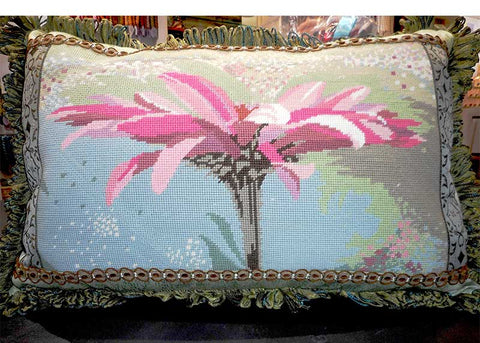 Finished canvas flower pillow