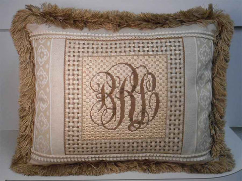 monogram pillow needlepoint class