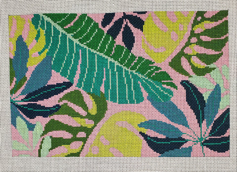 Tropical Leaves Clutch - Pink