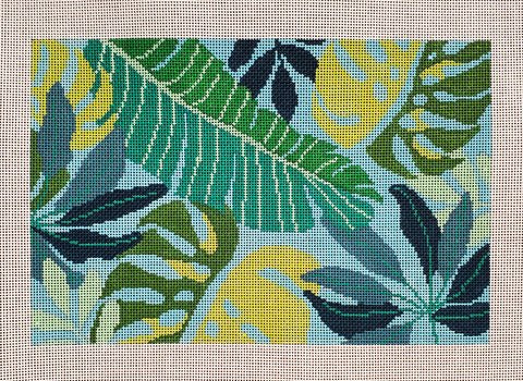 Tropical Leaves Clutch - Blue