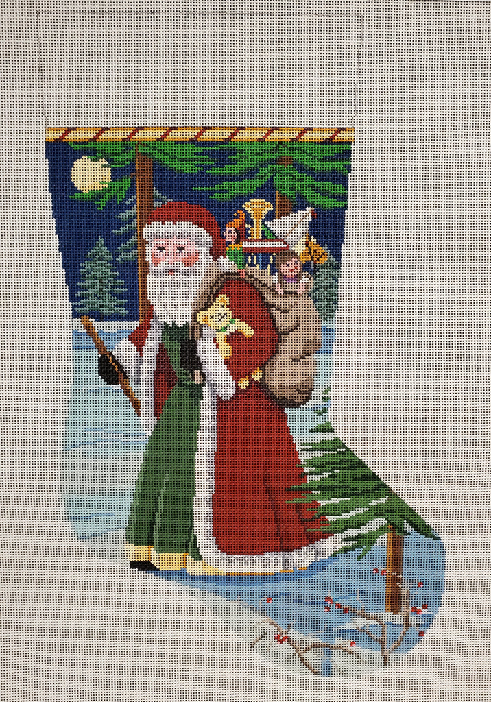 Santa with Walking Stick Stocking