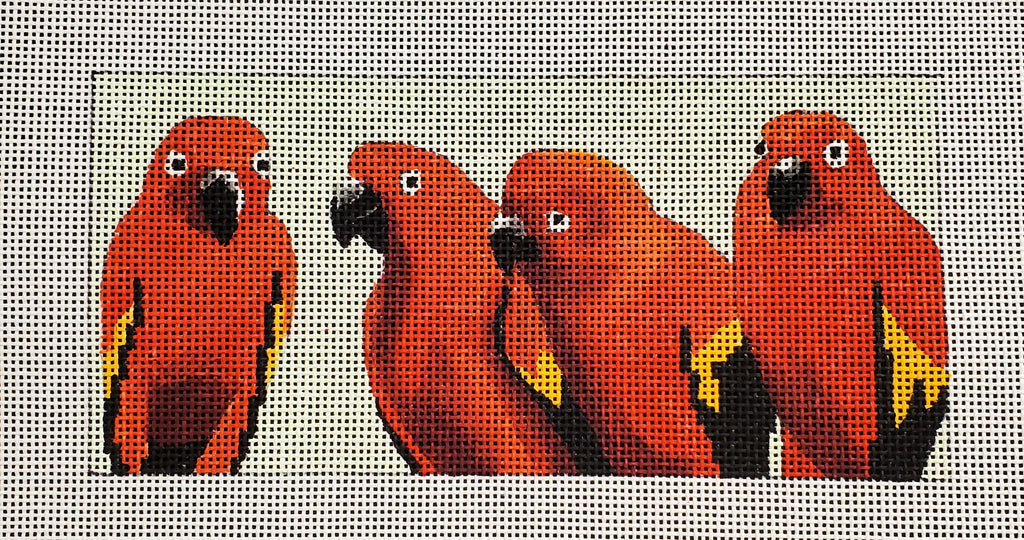 4 Red Parrots