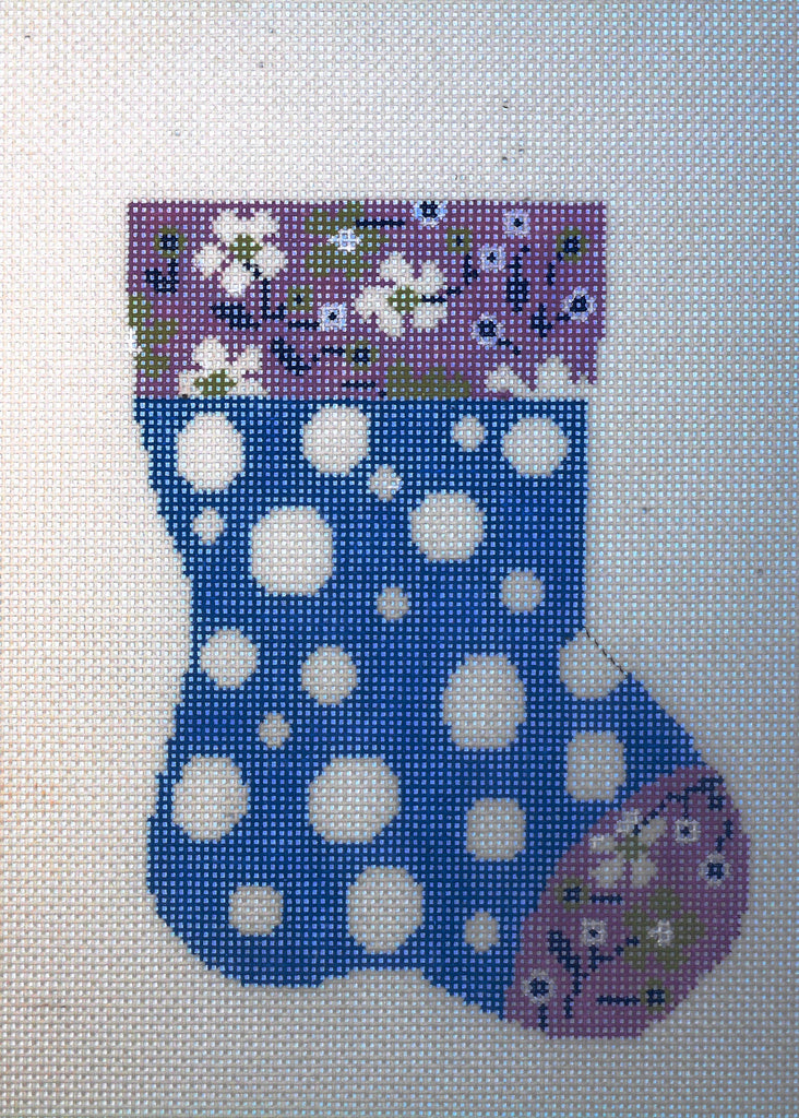 Blue Polka Dot Mini Stocking