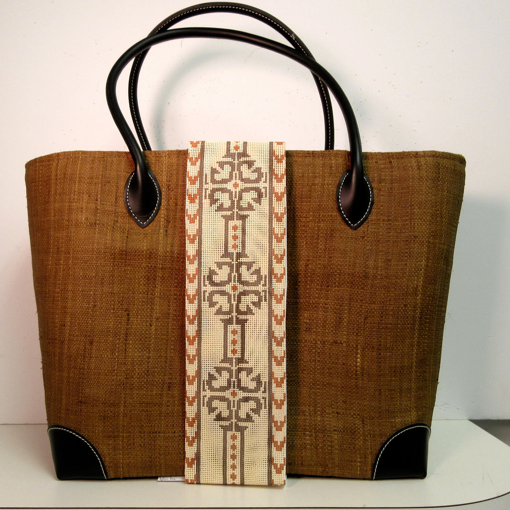 Brown Linen Tote Bag