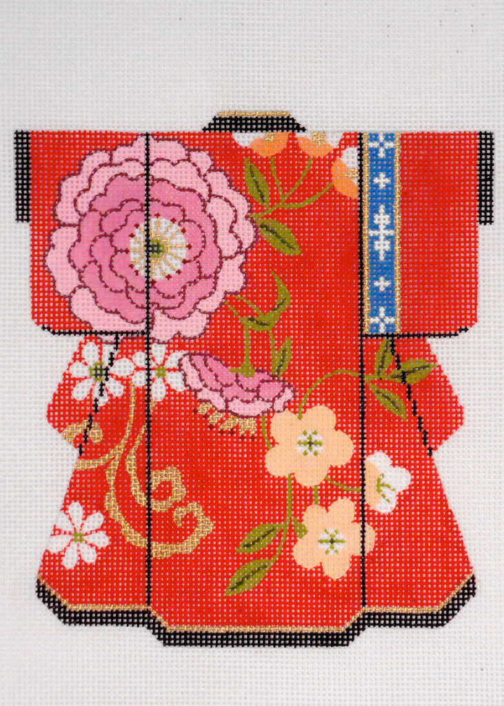 Pink Blossom on Red Kimono