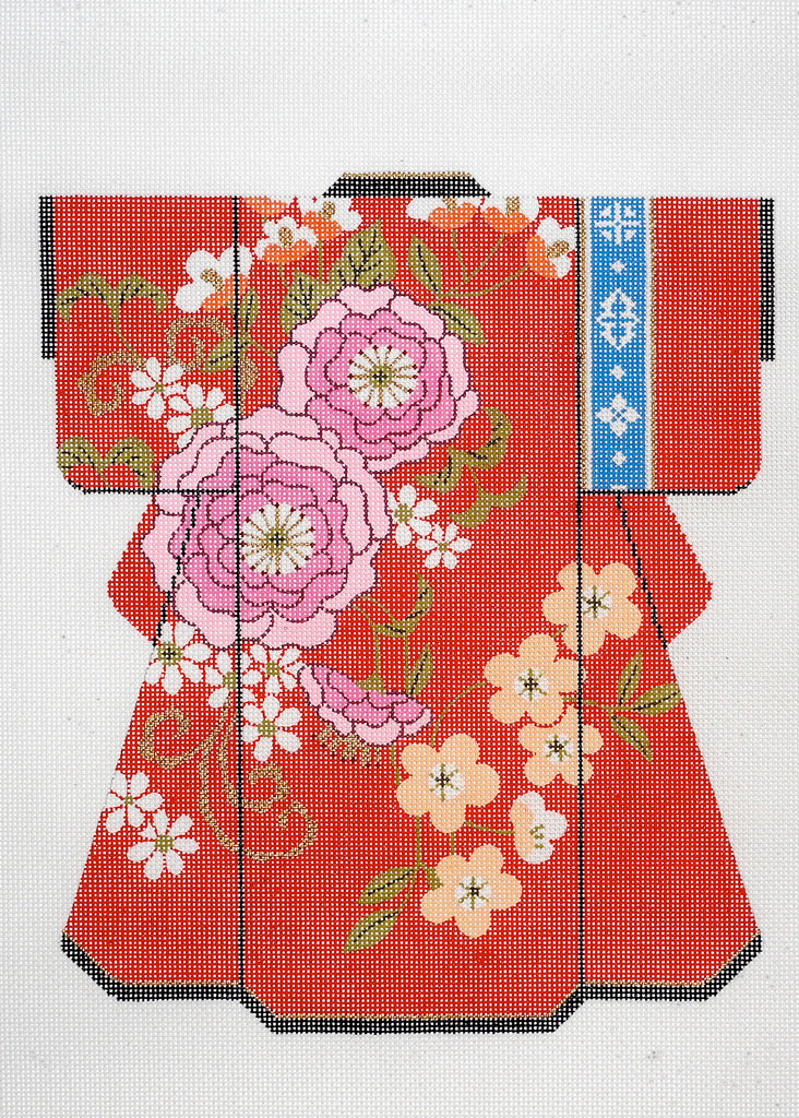 Red Kimono with Pink Blossom