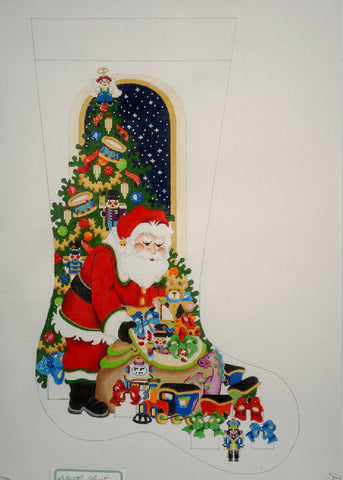 Santa with Bag of Toys Stocking