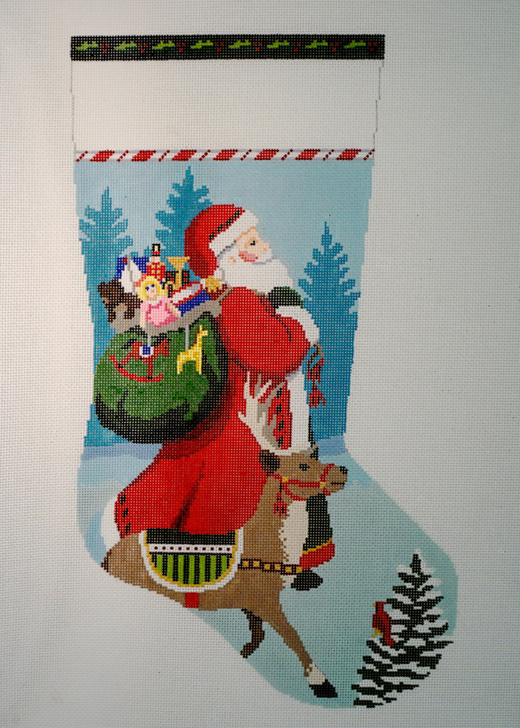 Tasseled Santa & Reindeer Stocking