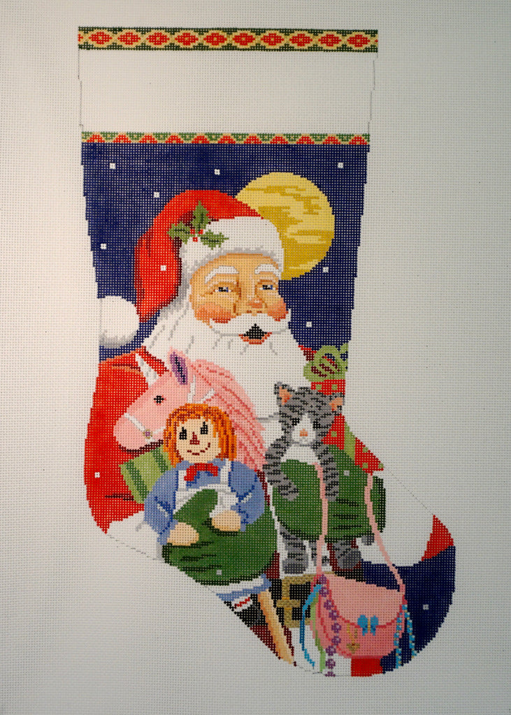 Santa, Unicorn, Kitten, Purse, Rag Doll Stocking