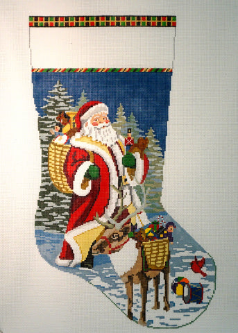 Santa Reindeer & Toy Baskets Stocking