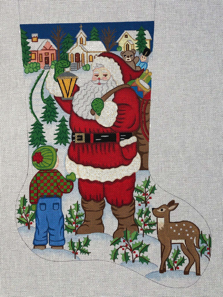 Santa with Boy Stocking