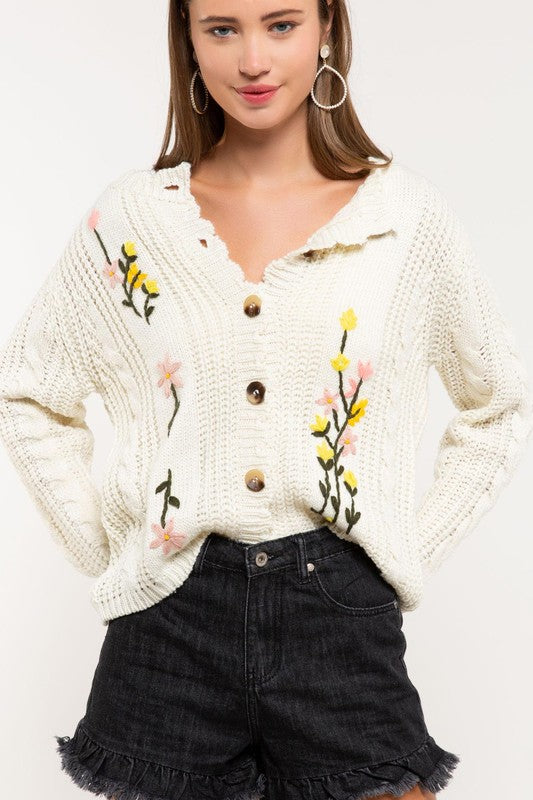 Flowers in your hair cardigan