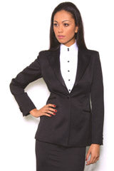 Black tuxedo suit for women