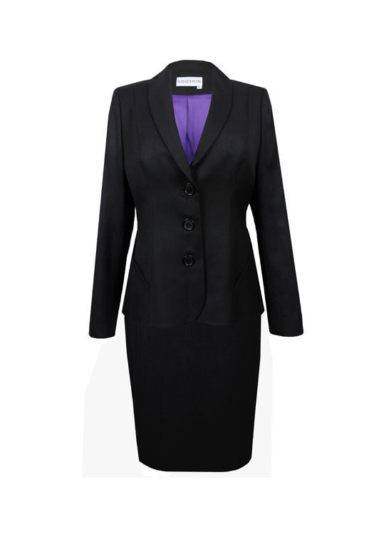 Ladies suits for work - Penny jacket and skirt suit in black 140's wool