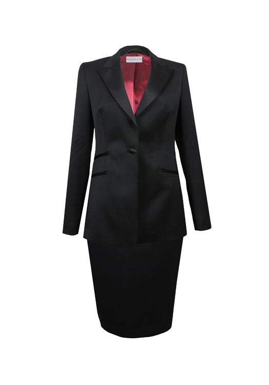 Ladies workwear - tailored tux skirt suit - Maria black pure wool