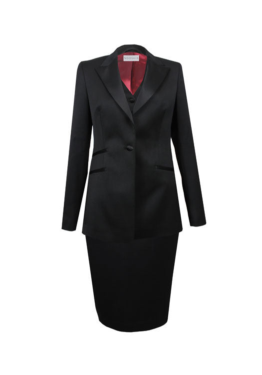 Tailored three piece tux skirt suit for women - Maria black wool
