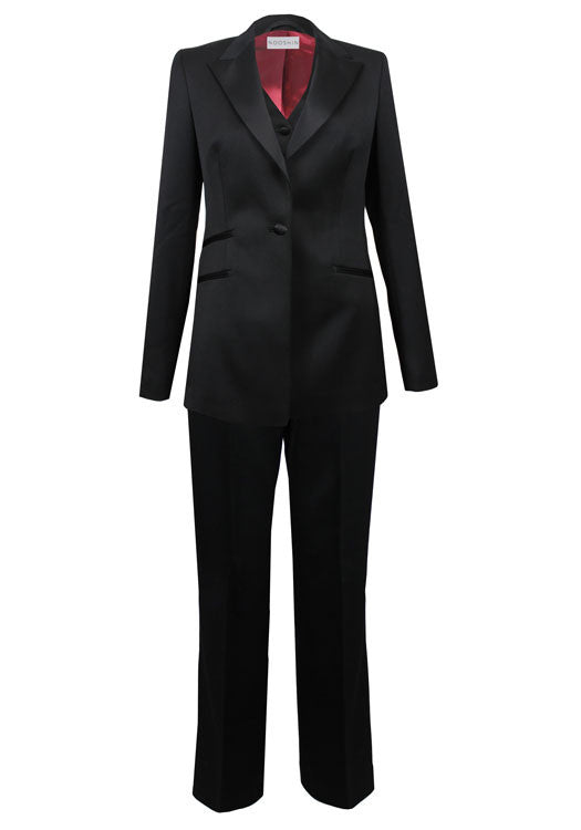 Tailored three piece tux trouser suit for women - Maria black wool