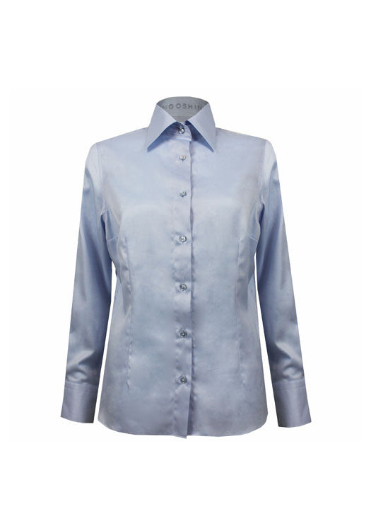 Savile Row blue tailored ladies shirt for business women