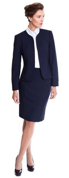 Navy skirt suit business wear for women