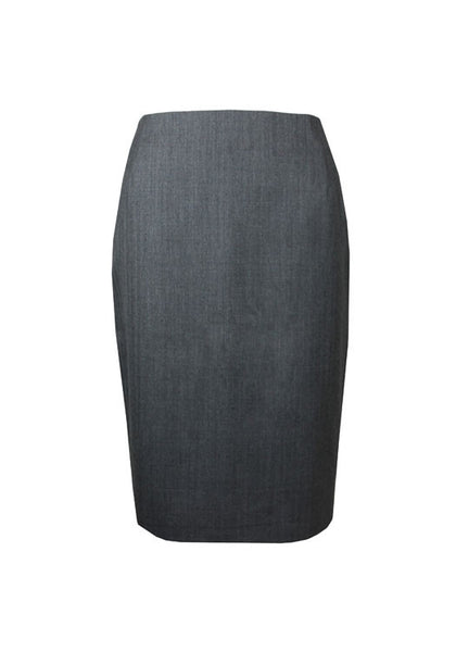 Tailored grey wool business skirt for women