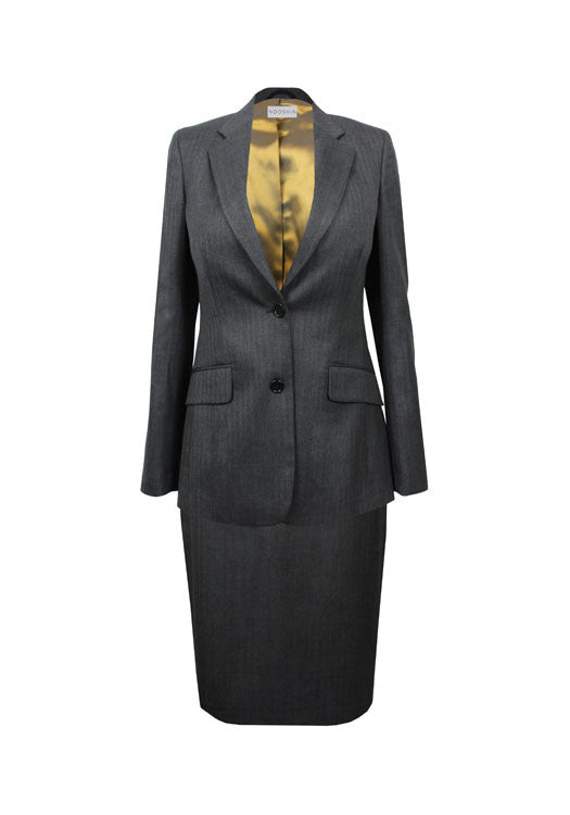 Tailored grey wool skirt suit for business women