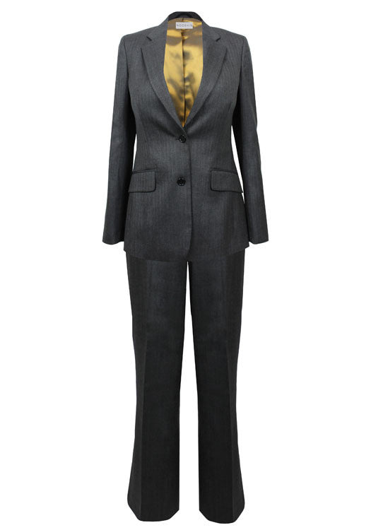 Tailored grey wool trouser suit for business women