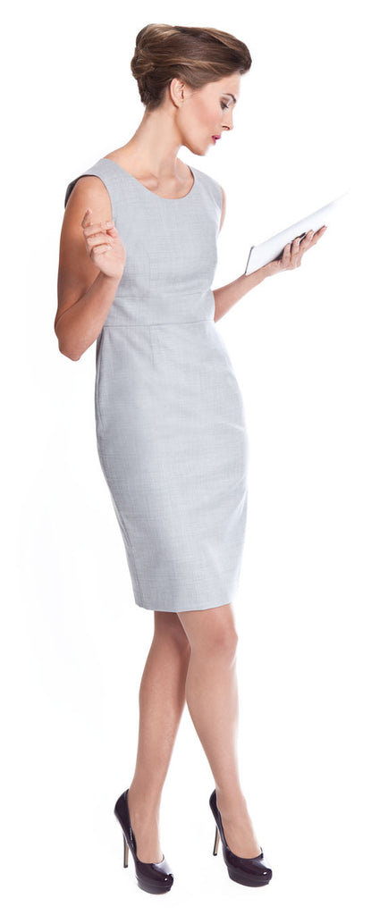 Ladies business suits - light grey Kelly pure wool dress