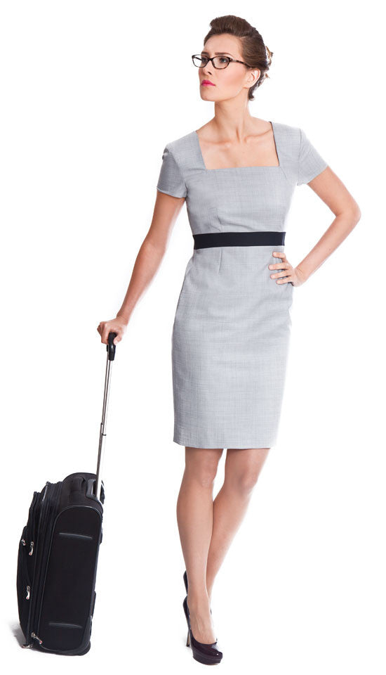 Business wear for women - Lindsay light grey wool dress