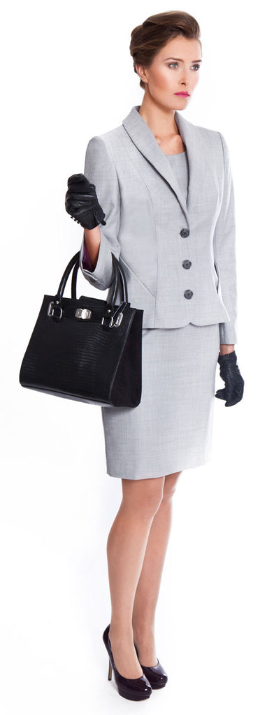 Ladies suits for work - Penny jacket and skirt in light grey 140's wool