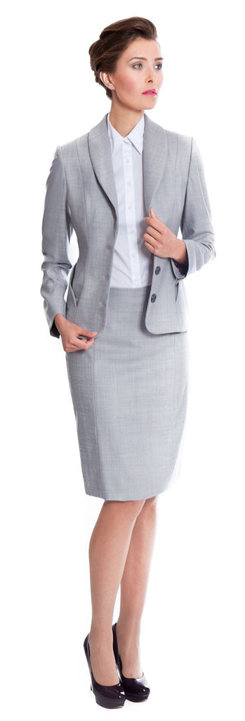 Tailored suits for women - Penny jacket and skirt suit in light grey super 140's wool