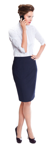 Black and navy tailored wool business skirt for women