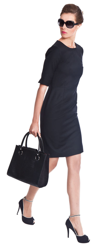 Savile Row luxury tailored ladies black wool dress for business work