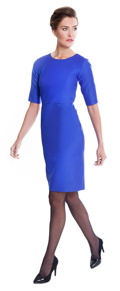 Ladies luxury workwear - Emily sapphire blue tailored dress