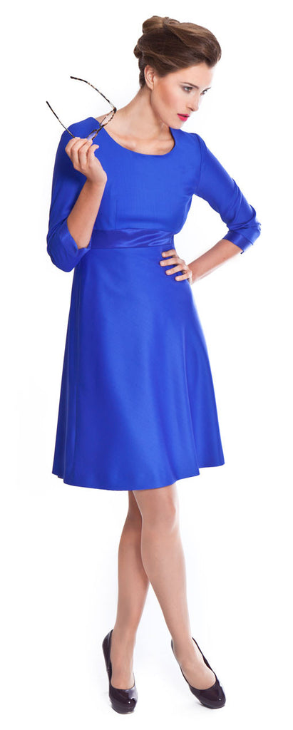 Savile Row sapphire blue designer tailored dress for business women