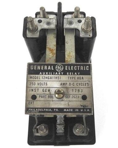 GENERAL ELECTRIC 12HGA11H51 AUXILIARY RELAY TYPE: HGA, 250 VOLTS, GEF-2623
