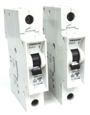 LOT OF 2 SIEMENS 5SX21C2 CIRCUIT BREAKERS 5SX21-C2, 230/400V