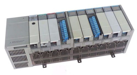 ALLEN BRADLEY 1746-A10 10-SLOT RACK SER A W/ 1746-P2 POWER SUPPLY 1747-L542