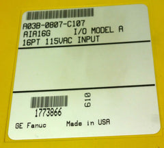 FANUC A03B-0807-C107 AIA16G INPUT MODULES A03B0807C107 W/O FRONT COVER