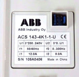 ABB ACS 143-4K1-1-U DRIVE 200/240V, 50/60HZ, 12.0A W/ ACS100-PAN DISPLAY