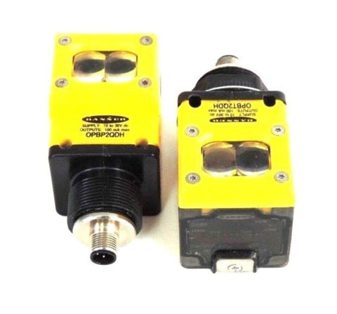 2 BANNER OSBR PHOTOELECTRIC EMITTER HEADS W/ OPBP2QDH & OPBT2QDH POWER BLOCKS