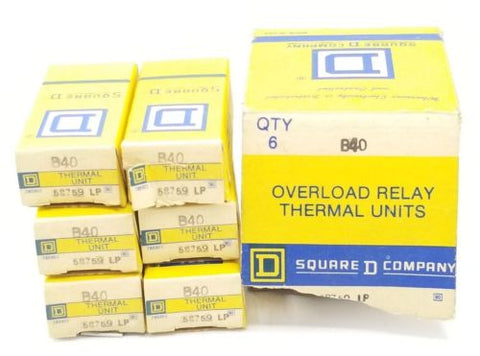 BOX OF 6 NEW SQUARE D B40 HEATER ELEMENTS