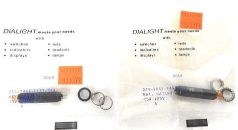 2 NEW DIALIGHT 249-7841-1433-544 NEON INDICATOR LAMP 75W, 125V, 2497841, 5375606