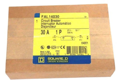 FACTORY SEALED SQUARE D FAL14030 CIRCUIT BREAKER 30A 1P 277V 125V 50/60HZ 64901