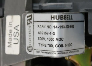 HUBBELL/SIEMENS 14-193-100-562 600V DC CONTACTOR COIL 74VDC 14193100562 NEW