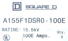 CASE OF 3 NEW SQUARE D A155F1DSRO-100E CURRENT LIMITING POWER FUSE 100E AMPS