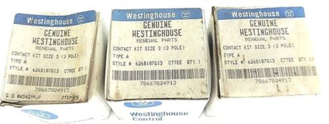 3 NIB WESTINGHOUSE 626B187G13 MAIN CONTACTS (3 POLE) SIZE 3 TYPE A CONTACT KITS