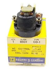 LOT OF 2 NIB SQUARE D 8501 CO-1 AC CONTROL RELAYS SERIES B, 120V, 8501CO1, 34983