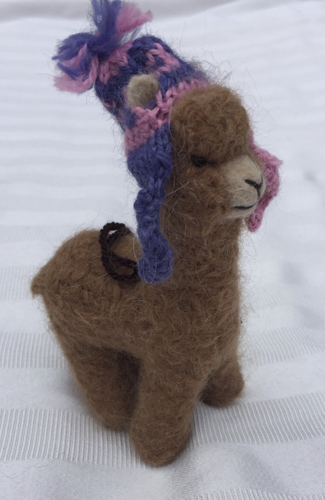 Handmade needle felted alpacas with churro hats