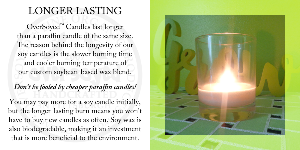 OverSoyed™ Candles last longer than a paraffin candle of the same size. The reason behind the longevity of soy candles is the slower burning time and cooler burning temperature of our custom soybean-based wax blend. Don't be fooled by cheaper paraffin candles! You may pay more for a soy candle initially, but the longer-lasting burn means you won't have to buy new candles as often. Soy wax is also biodegradable, making it an investment that is more beneficial to the environment.