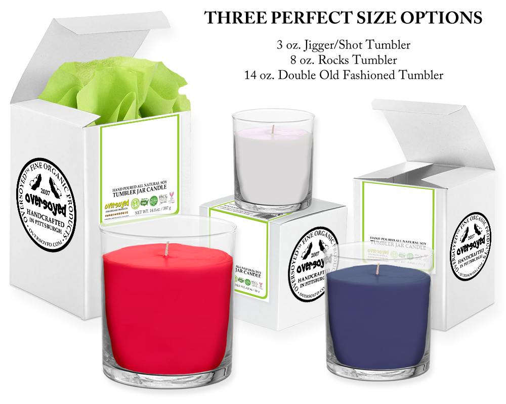 OverSoyed Fine Organic Products - Hand Poured Soy Tumbler Candle Sizes